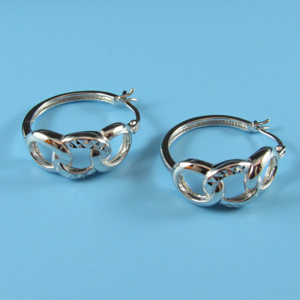 6647 - 24mm High Polish Hoops w/ 3 Rings, Center Ring D/C