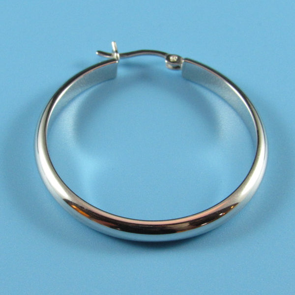 6650 - 30mm High Polished 4mm Half Round Tube Hoops