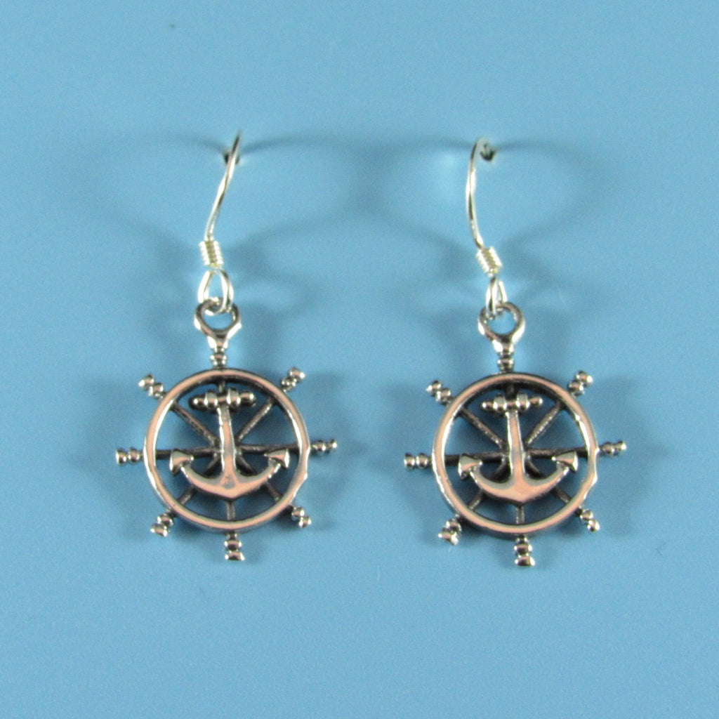 6654 - Anchor in Ship's Wheel Earrings