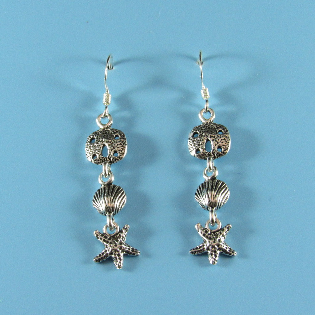 6656 - Sandollar, Shell and Sea Star Earrings