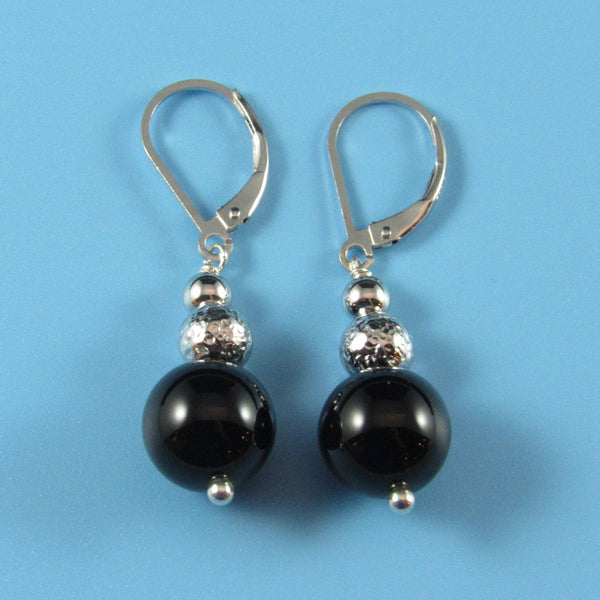 8002 - Black Onyx with Hammered Bead Drop Earrings