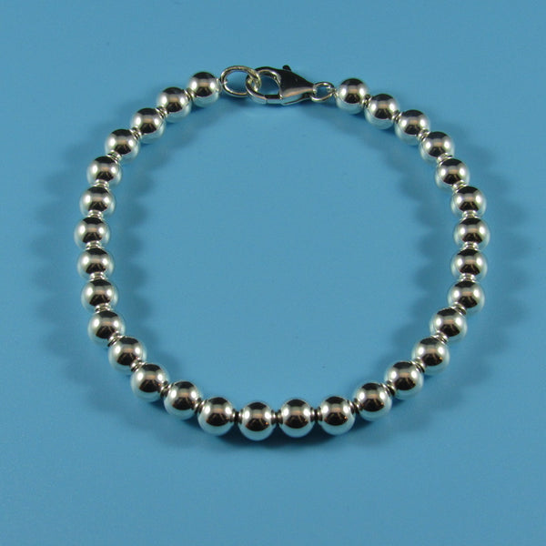 Sterling Uniform Beaded Bracelet-Comes in all size beads