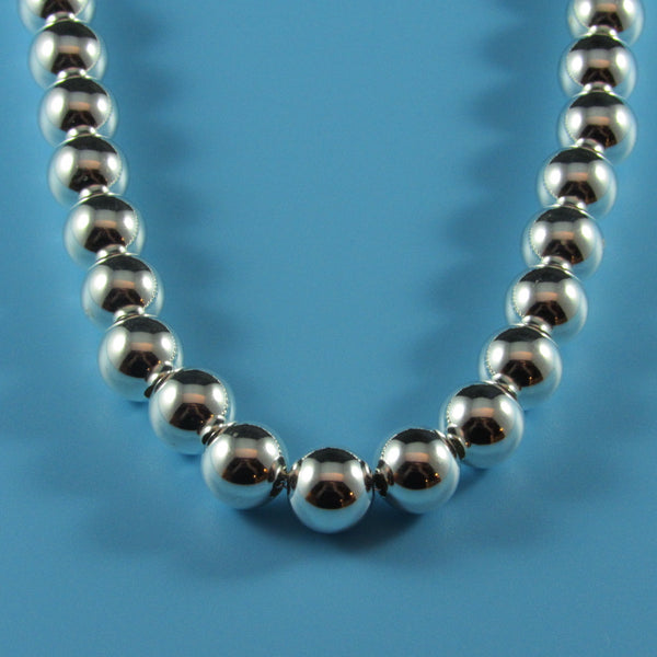Sterling Graduated Beaded Necklace-Comes in all size beads