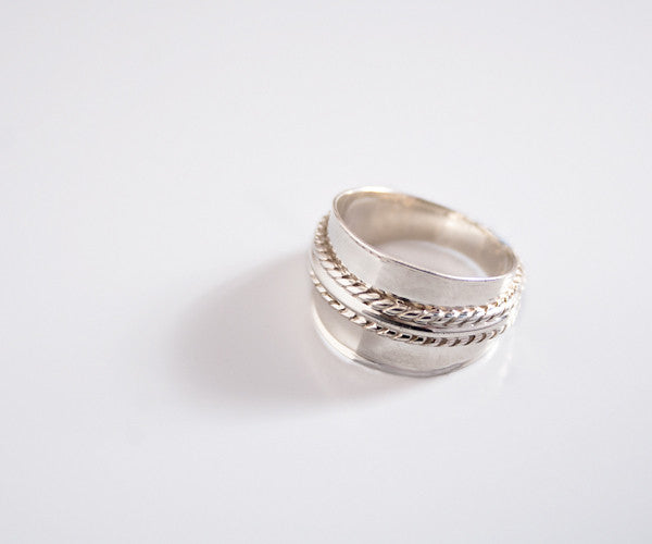R30 - Sterling Ring High Polish Textured Ridges