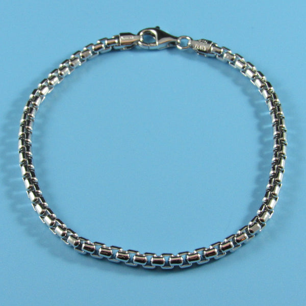 RB3.5 - 3.5mm Rhodium Round Box Chain Bracelet