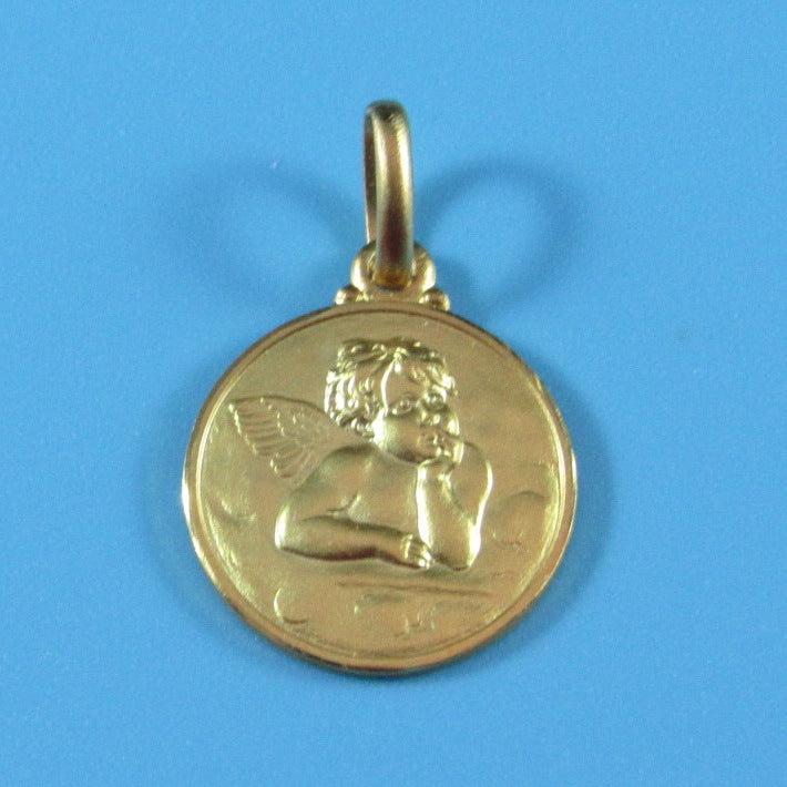 RM04KT - 14kt Yellow Gold Angel Raphael Medal