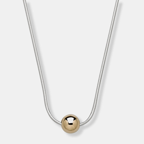 S1-8mm kt - Sterling Snake Chain with 8mm 14kt Gold Bead Necklace