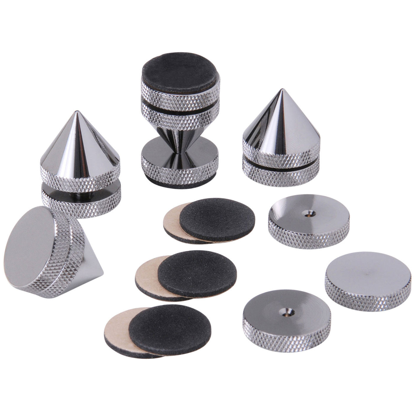 Height Adjustable Isolation Cones - Spikes - Black Chrome