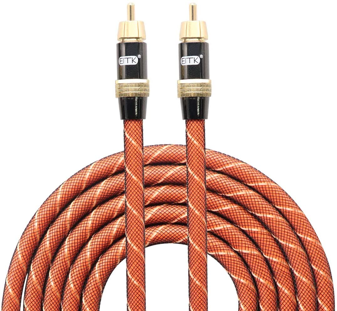 EITK Digital Audio Coaxial Cable Dual Shielded with RCA Gold-Plated Connectors - 1.5M