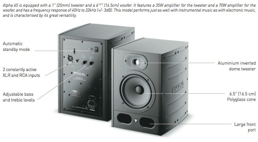 Focal Alpha 65 Monitor Loudspeaker - EACH
