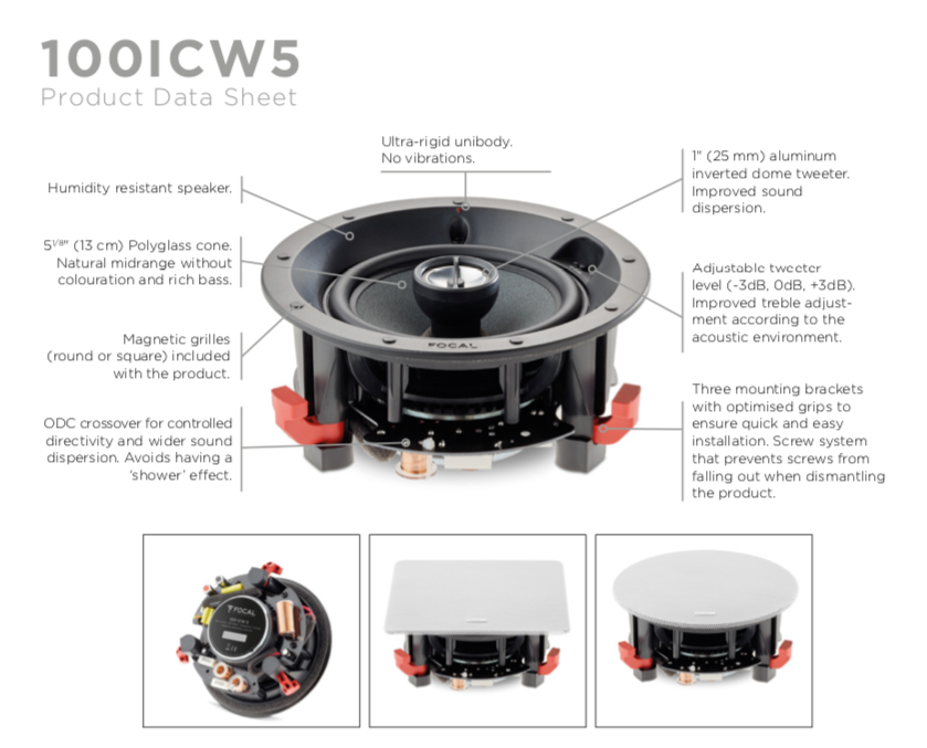 Focal 100 ICW 5 In-Wall Loudspeaker - EACH