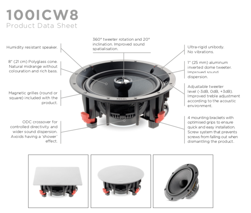 Focal 100 ICW 8 In-Wall Loudspeaker - EACH