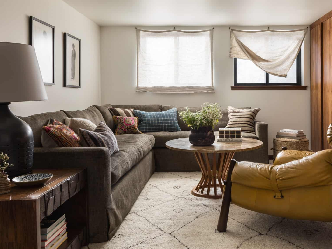A casual down-filled slipcovered sofa in a space Heidi Caillier Design