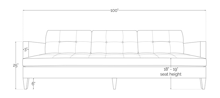rodney sofa front view