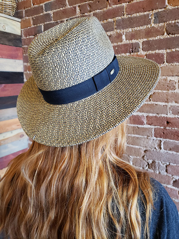 Scala Natural and Black Woven Sun Hat With Black Ribbon Band