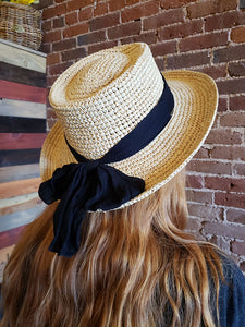 Scala Woven Sun Hat With Black Ribbon