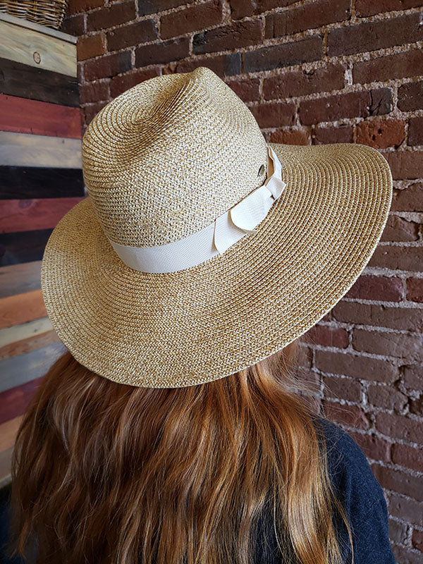 Scala Woven Sun Hat With Beige Ribbon Band