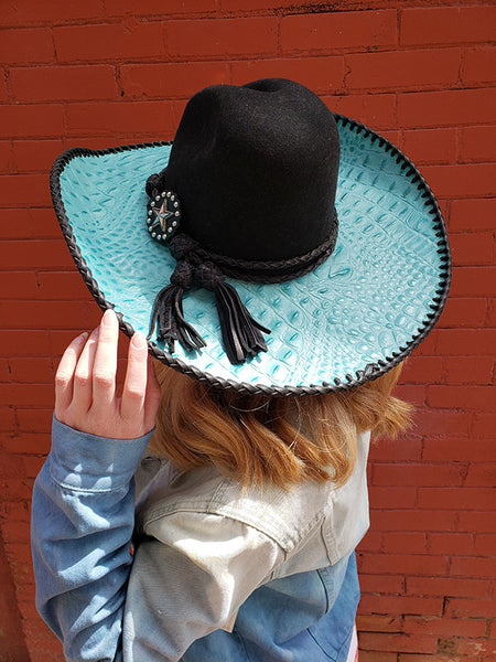Red Star Riggings Black and Turquoise Alligator Cowgirl Hat With Black Leather Stitching and Band