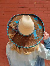 Load image into Gallery viewer, Straw and Turquoise Cow Hide Cowgirl Hat With Brown and Turquoise Leather Stitching and Band