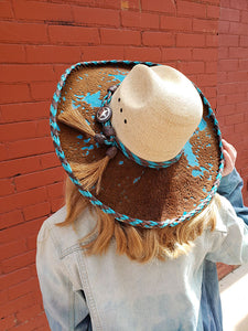 Red Star Riggings Straw and Turquoise Cow Hide Cowgirl Hat With Brown and Turquoise Leather Stitching and Band