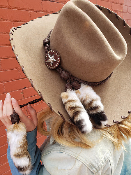 Red Star Riggings Brown Cowgirl Hat With Brown Leather Stitching and Fur Tassels