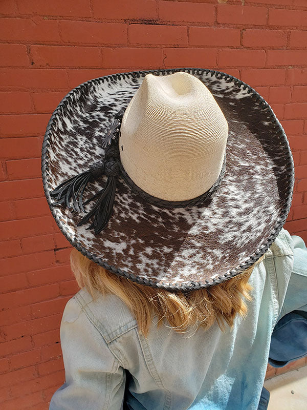 Straw and Cow Hide Cowgirl Hat With Black Leather Stitching and Band