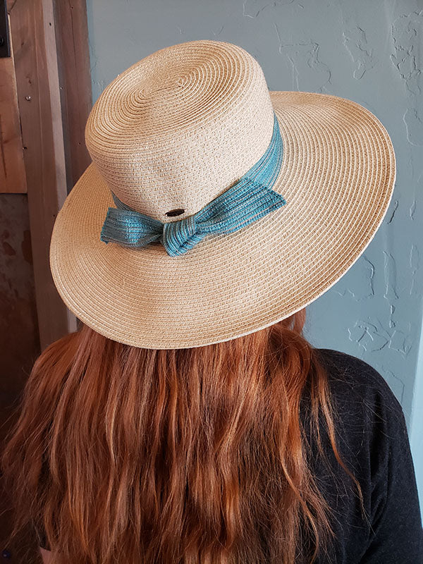 Scala Woven Sun Hat With Light Blue Bow