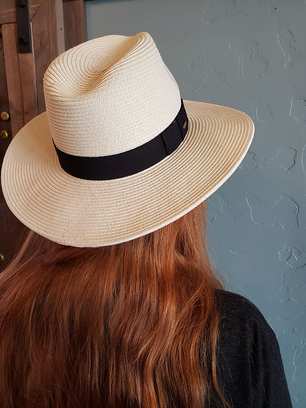 Woven Sun Hat With Black Ribbon