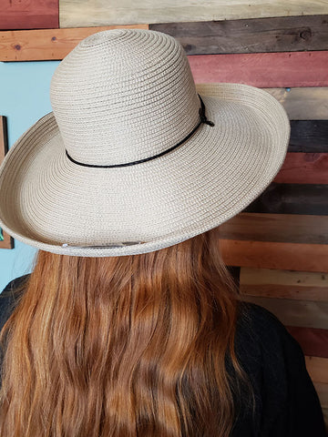 Scala Woven Flared Brim Sun Hat With Black Leather Band