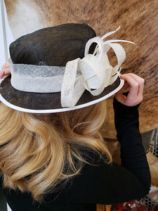 Black Mesh Hat With White Ribbon and Feather Band