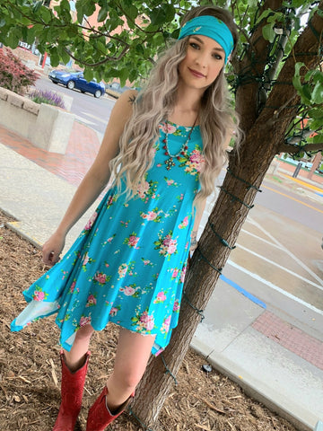 Tanya Dress - Turquoise Floral
