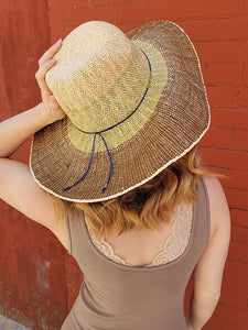 Scala Woven Brown, Tan and Green Sun Hat With Blue String Band
