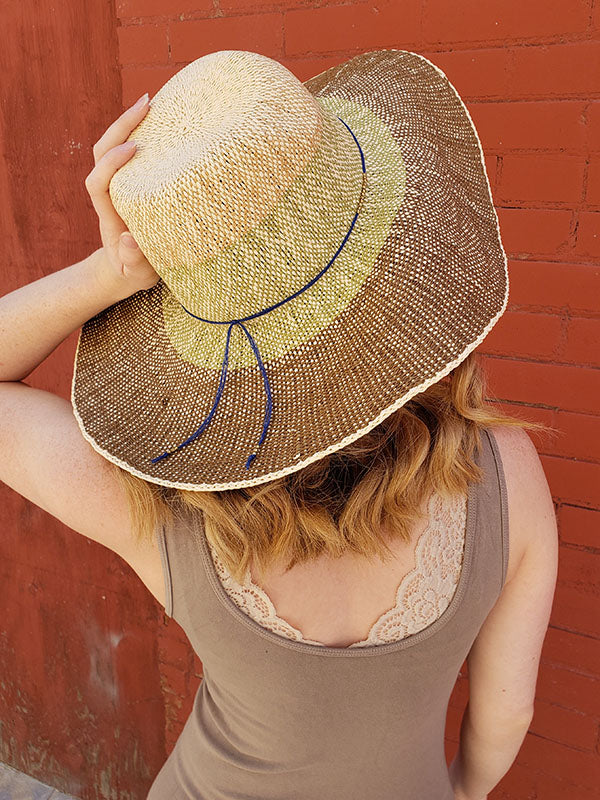 Woven Brown, Tan and Green Sun Hat With Blue String Band