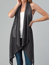 Load image into Gallery viewer, Woven Solid Sleeveless Cardigan - Charcoal