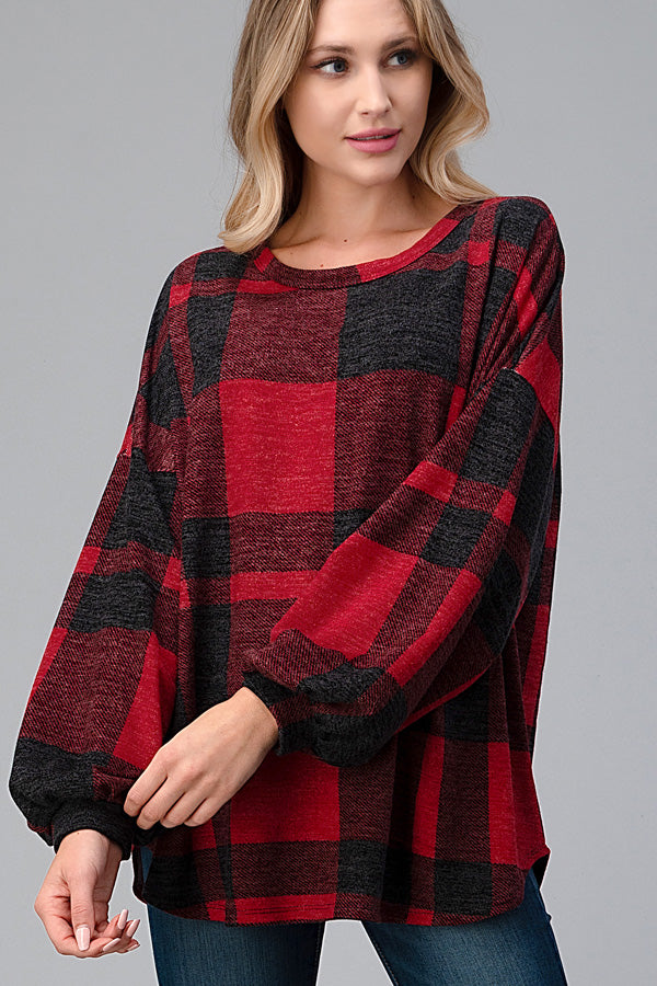 Buffalo Plaid Hacci Knit Puffy Long Sleeve Top