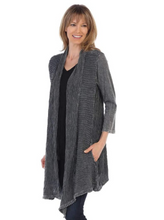 Load image into Gallery viewer, Mineral 100% Cotton Slub With Wave Knit Contrast Cardigan - Charcoal