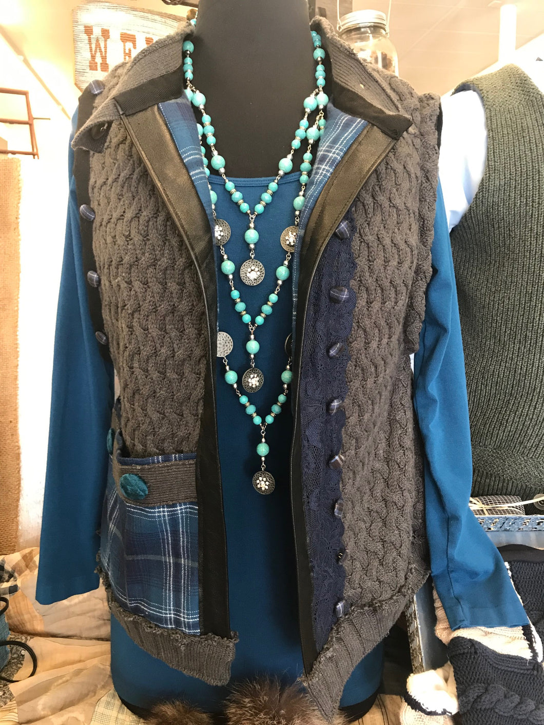 Basque Vest - Grey and Blue