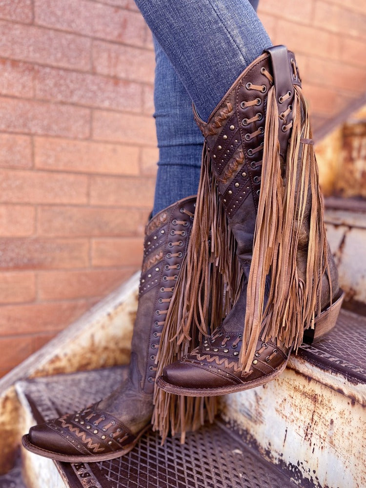 Brown & Tan Woven Details & Fringed Side Boots