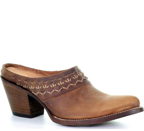 LD Brown Woven Mule Q5028