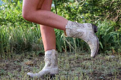 Corral LD White Glitter Inlay & Crystals Ankle Boots A3550