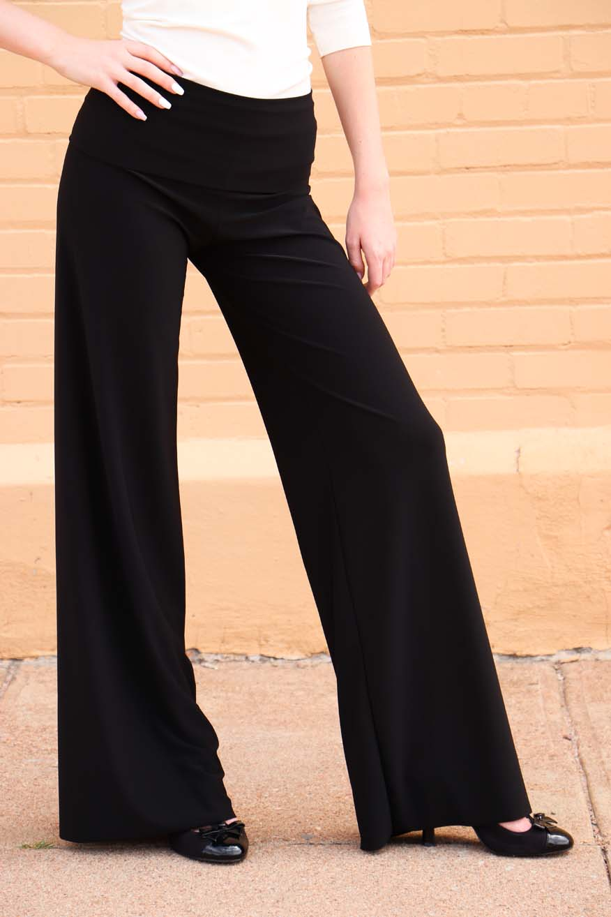 Tailored West Totally Wow Palazzo Pant - Solid Black