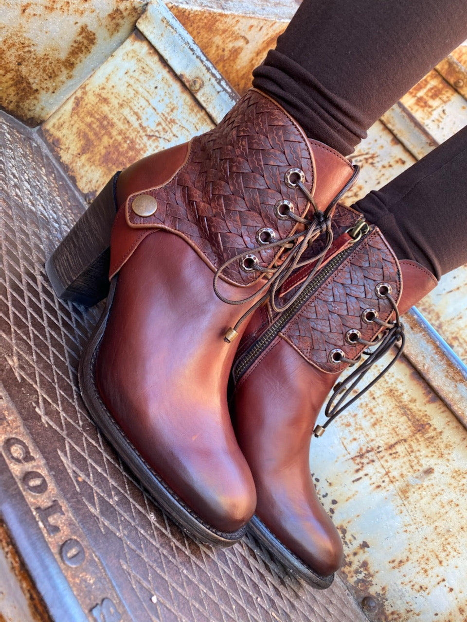 Cognac Lace Up Round Toe Boot