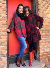 Load image into Gallery viewer, Buffalo Plaid Hacci Knit Puffy Long Sleeve Top