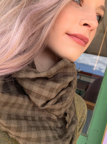 Green Checkered Infinity Scarf