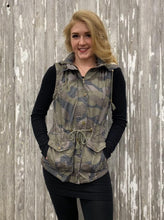 Load image into Gallery viewer, Hooded Button Down Vest with Pockets - Camouflage