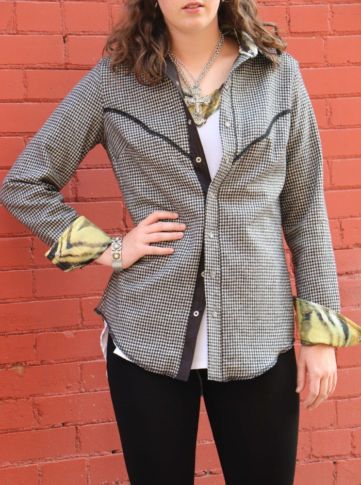 English Cowgirl Top - Houndstooth