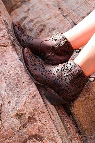Corral LD Brown Full Floral Inlay Ankle Boot G1496