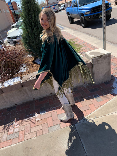 Fringe Poncho - Rich Green