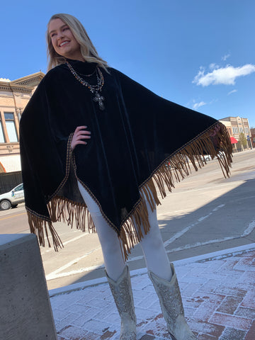 Brown Fringe Poncho - Rich Black