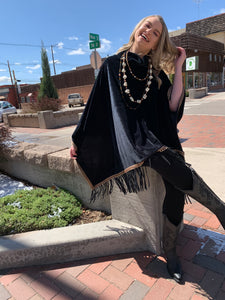 Black Fringe Poncho - Rich Black